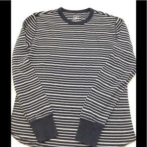 Men's Black White Striped Thermal Cotton Shirt